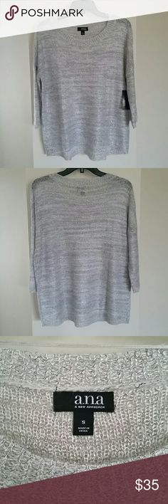 Beautiful Grey sweater Beautiful Grey, Silver sweater New with tags. Fits like a Medium. a.n.a Sweaters
