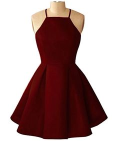 Yangprom Simple Halter Sleeveless Pleated A-line Short Ho. Simple Homecoming Dresses, Cute Prom Dresses, Pretty Dresses, Beautiful Dresses, Freshman Homecoming Dresses, Grad Dresses Short, Semi Dresses, Dresses For Teens, Promotion Dresses
