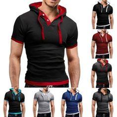 Moda-Hombre-Corte-Ajustado-Camisetas-Camisetas-Informal-Con-capucha-Manga-Corta