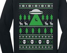 Alien Reindeer Abduction Ugly Christmas Sweater Youth Long Sleeve T-Shirt