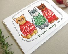 On Sale Christmas Card Cat Christmas Card Cat by michelemaule