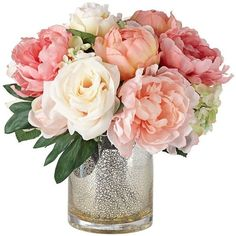 Peonies, Roses and Hydrangeas in a Large Mercury Glass Vase found on Polyvore