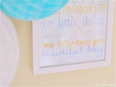 Baby boys nursery birth details