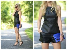 Leather on Leather: faux leather top with leather shorts, cobalt blue Brahmin duxbury clutch, LOFT leopard ankle strap heels, leather with leather