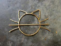 Cat Bun Pin Hair Clip Brass Barette Handmade Cat Whiskers Bun