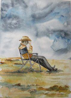 Cowboy Original Watercolor. Cowboy OOAK by CecileRancourtArt