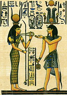 Hathor and Sethi I - cobra, necklace bent top staff with forked end
