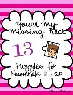 by Denise's Designs Pre-Kindergarten - Grade You're My Missing Piece is 8 puzzles designed to help students with teen number conf. Fun Classroom Activities, Fun Math, Kindergarten Lessons, Math Lessons, Teacher Resources, Learning Resources, Teaching Ideas, Elementary Teacher, Elementary Education