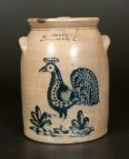"Important New York State Rooster. Very Rare Four-Gallon Stoneware Jar with Large and Well-Detailed Cobalt Decoration of a Strutting Rooster, Stamped ""C.W. BRAUN / BUFFALO, NY,"" circa 1870. One of the finest American stoneware rooster decorations known."