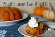 Pumpkin Caramel Angel Food Cake ~ Quick, easy & delicious!