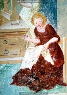 Detail from Mary at the loom from a fresco at the Church of St. Primus and Felicianus, Slovenia, 1504