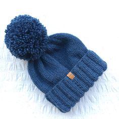 Handknit denim blue UNISEX bobble hat winter by JunkboxCouture