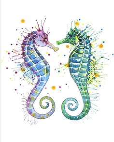 Guardians of the Sea: print seahorse by SamNagel on Etsy