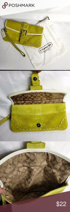 100% Authentic Coach Green Suede Wristlet Dustbag 100% Authentic Coach Green Suede Wristlet with Dustbag. Minor use wear. Easily cleaned with suede cleaner or oxiclean. Coach Bags Clutches & Wristlets