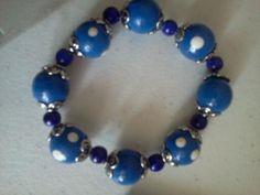 Blue wooden bead bracelet  Maria Gail Designs
