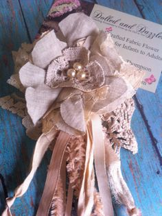Vintage Inspired Linen and Lace Flower/ Khaki and Antique Cream/ Womens Brooch/ Hair Accessory/ Hairclip/ Bridal Flower/ Floral Applique