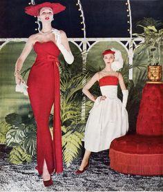 Vogue - Oct 1956   Suzy Parker & Evelyn Tripp