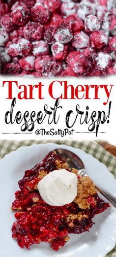 Fresh juicy tart cherries with a golden buttery oat topping makes this the perfect dessert to celebrate one of summer's amazingly delicious fruits! Sour Cherry Pie, Cherry Tart, Fresh Cherry, Cherry Crisp Recipe With Fresh Cherries, Sour Cherry Cake Recipe, Fruit Crisp Recipe, Cherry Recipes, Fruit Recipes, Dessert Recipes