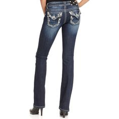 Miss Me Rhinestone-Embroidered Bootcut Jeans, Dark Wash ($80) ❤ liked on Polyvore featuring jeans, medium blue, boot-cut jeans, low rise jeans, rhinestone bootcut jeans, skinny jeans and boot cut jeans