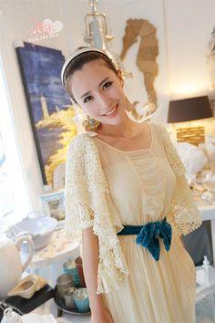 Morpheus Boutique  - Beige Lace Pleated Kimono Sleeve Belted Designer Elegant Dress, $89.99 (http://www.morpheusboutique.com/products/beige-lace-pleated-kimono-sleeve-belted-designer-elegant-dress.html)