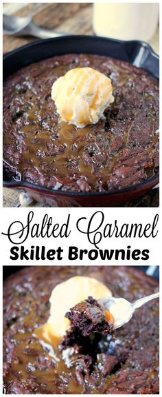 Salted Caramel Skillet Brownies, Desserts, Salted Caramel Skillet Brownies - sweet and salty, crisp and soft, warm and cold. Opposing tastes and textures truly make this epic dessert recipe. Brownie Desserts, Brownie Recipes, Chocolate Recipes, Fun Desserts, Delicious Desserts, Dessert Recipes, Yummy Food, Chocolate Brownies, Dessert Ideas