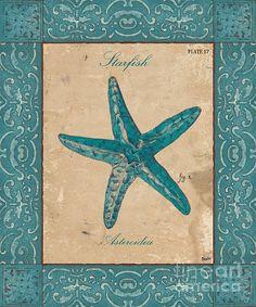 Nautical Art, Beach Art, Illustrations, Beach Themes, Journal Cards, Starfish, Painting On Wood, Sea Shells, Fine Art Prints