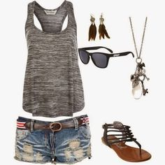 I like the tank top and the color of it. I have many bright colored shorts and are always looking for something to go with them and this would be perfect. I also really like the shorts. I like the rip in the jean shorts. But I do not like the belt or the jewelry.