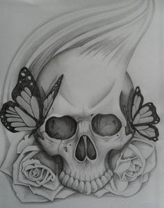 simple skull tattoo | Pin Easy Drawings Of Roses And Skulls picture to pinterest.