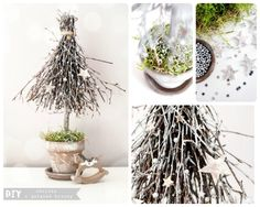 DIY - how to make a Christmas tree from birch twigs Christmas Design, Winter Christmas, Handmade Christmas, Christmas Time, Christmas Party Decorations, Holiday Crafts, Christmas Ornaments, Winter Planter, Handmade Decorations
