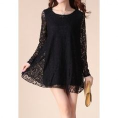 $11.35 Embroidered Ruffles Plus Size Asian Maternity Lace Solid Color Dress For Women @Sammydress