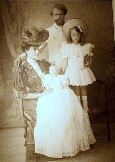 Hugette Clark as an infant with her Gilded Age family.  Mr and Mrs. Senator Clark, her father a copper tycoon. Andree her sister.