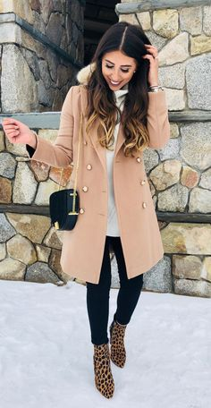 #winter #outfits  pink coat