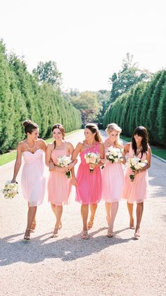 Ombre pink bridesmaids