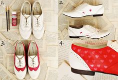 1. You'll need- A pair of white flats, Martha Stweart All Surface craft paint in red and pink, paint brushes. 2. Mark off the areas of the shoe that you plan to paint with painted Xs. 3. Paint 2-3 coats (dry between each) until the surface is completely covered. 4. Add cute hearts, dots of a pattern of your choosing! Enjoy...