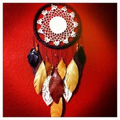 SALE: Earthy Dream Catcher w leather feathers FREE SHIPPING, vintage doily. $38,00, via Etsy.