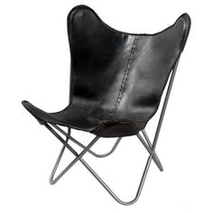 @Overstock - Black Leather Butterfly Chair - Whether used as an accent piece or as seating for guests, this leather butterfly chair has a modern look that will add interest to almost any decor. And, with its hand-sewn leather construction, this distinctive seat also has a luxurious feel.  http://www.overstock.com/Home-Garden/Black-Leather-Butterfly-Chair/8199759/product.html?CID=214117 $200.99