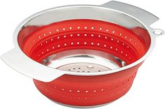 Rösle Stainless Steel 10-inch Collapsible Colander, Red