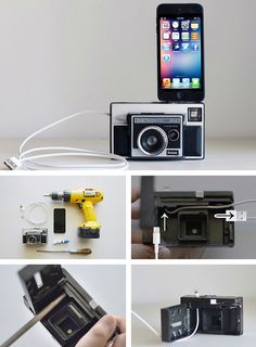 DIY: Turn an Old Camera into a Retro Phone Dock  Instead of throwing out that old 35mm that doesn't work, you can turn it into a rad retro phone charger!