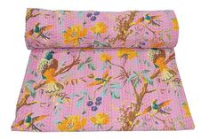Indian Reversible Kantha Quilt Handmade Bedspread Twin size Throw Blanket Throw #Handmade #Traditional