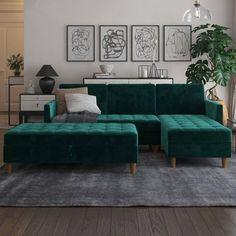 Prato Storage Ottoman Green Velvet - Room & Joy