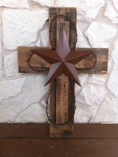 wood cross with western star