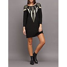 Buy Numph Tessa Statement Knitted Dress, Caviar Online at johnlewis.com
