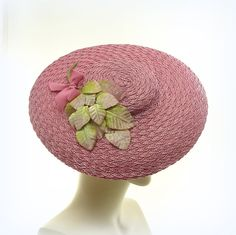 Rose Pink SAUCER HAT for Women / Pink Straw by TheMillineryShop