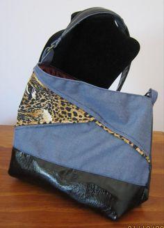 Divadezines Denim and Animal Print Shoulder Bag by Divadezines