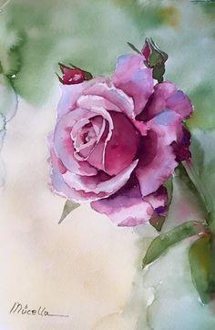 Beautiful purple rose watercolor floral art jpg 624×960픽셀 Arte floral.