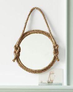 Nautical mirror: Rope DIY home decor by design ideas design Rope Mirror, Rope Lamp, Diy Mirror, Wall Mirror, Frameless Mirror, Mirror Ideas, Porthole Mirror, Mirror Crafts, Convex Mirror