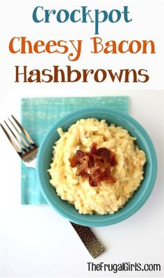 Crockpot Cheesy Bacon Hashbrowns Recipe from http://TheFrugalGirls.com #dinner #recipes #maincourse #food #recipe