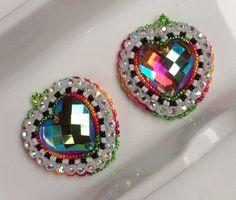 Native American Beaded Earrings Swarovski Gem Heart by KianiKine, $25.00