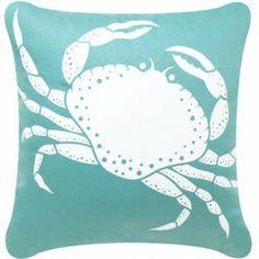 Eco Art Aqua Blue Crab Coastal Pillow