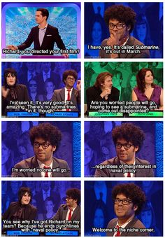 Richard Ayoade and Noel Fielding on Big Fat Quiz of the Year 2010 :D Richard Ayoade, Mock The Week, The Comedian, Comedian Quotes, The Mighty Boosh, British Comedy, British Humour, It Crowd, Jimmy Carr